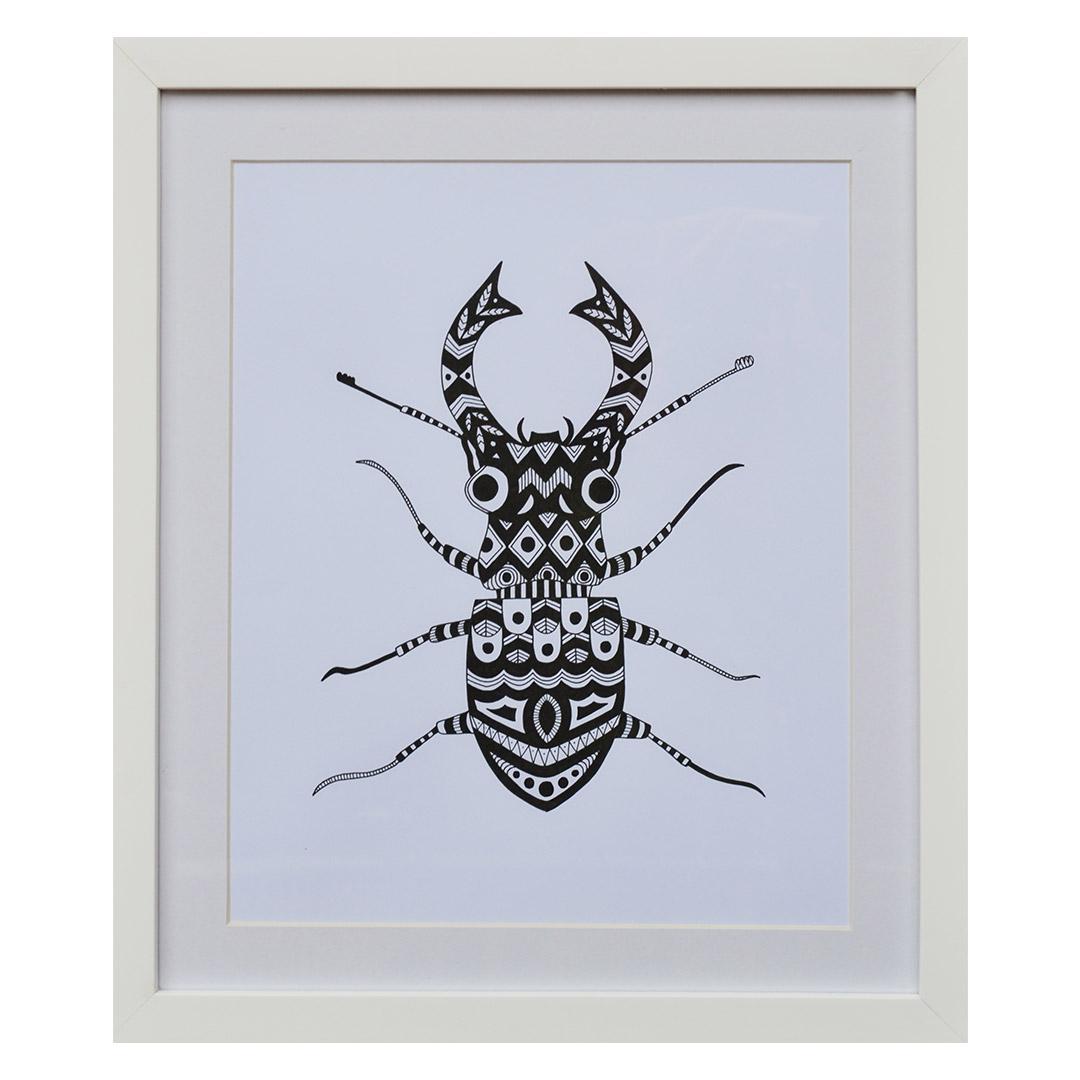 Escarabajo en blanco y negro
