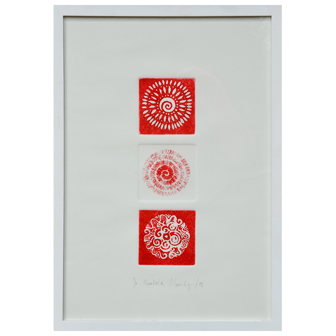 Tres Mandalas color rojo